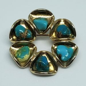 Vintage Gold Tone Turquoise Nugget Flower Brooch